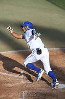 Jordan Sprinkle (9) of the UC Santa Barbara Gauchos bats against the Cal Poly Mustanges at Caesar Uyesaka Stadium on April 30, 2021 in Santa Barbara, California. (Larry Goren/Four Seam Images)