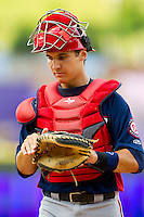 Potomac Nationals catcher Cole Leonida (13) on defense against the Winston-Salem Dash at BB&T Ballpark on July 8, 2013 in Winston-Salem, North Carolina.  The Dash defeated the Nationals 12-9.  (Brian Westerholt/Four Seam Images)