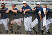 Members of the Danville Braves watch the bottom of the 9th inning from the top step of the dugout at Dan Daniels Park in Danville, VA, Sunday July 27, 2008.