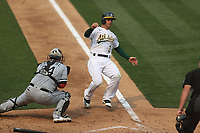 OAKLAND, CA - OCTOBER 1:  Tommy La Stella #3 of the Oakland Athletics slides home safely against the Chicago White Sox evading the tag of catcher Yasmani Grandal #24 during Wild Card Round Game Three at the Oakland Coliseum on Thursday, October 1, 2020 in Oakland, California. (Photo by Brad Mangin)