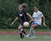 New York Fury midfielder Sinead Farrelly (17) controls the ball as Boston Breakers defender Bianca D'Agostino (19) pressures. In a Women's Premier Soccer League Elite (WPSL) match, the Boston Breakers defeated New York Fury, 2-0, at Dilboy Stadium on June 23, 2012.