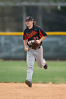 North Davidson Knights center fielder Austin Beck (23) jogs off the field between innings of the game against the Alexander Central Cougars at Bob Gryder Stadium on March 25, 2017 in Taylorsville, North Carolina.  The Knights defeated the Cougars 3-0.  (Brian Westerholt/Four Seam Images)
