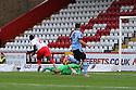 Aaron Lennox of QPR saves from Oumare Tounkara of Stevenage<br />   Stevenage v QPR XI - Pre-season friendly - Lamex Stadium, Stevenage - 16th July, 2013<br />  © Kevin Coleman 2013<br />  <br /> <br />  <br />  <br /> <br />  <br />  © Kevin Coleman 2013