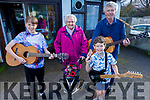 Mary O'Brien from Knockmoyle celebrating her 92th birthday on Tuesday as 3 generations of her family serenade her. L ro r: Mark O'Brien (Grandson), Mary and Tom O'Brien (Son) and Great grandson Donnchadh O'Regan,