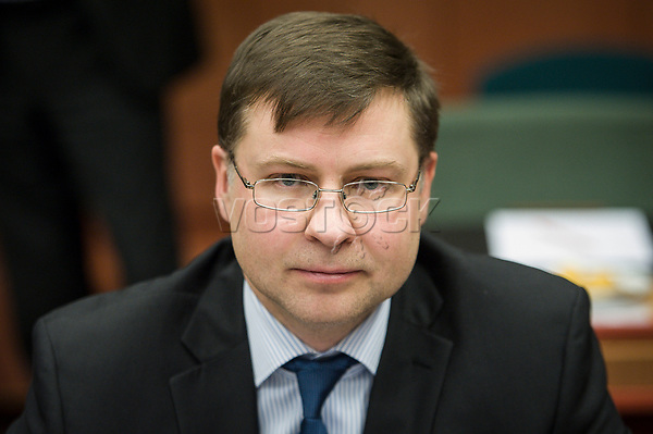Valdis Dombrovskis , Vice-president of the European Commission for the euro and social dialogue   at the start of a Eurogroup with European Finance Ministers meeting at EU council headquarters in Brussels, Belgium on 26.01.2015 The Eurogroup's meeting focus on Greece, after  leftist anti-bailout party SYRIZA won parliamentary elections by Wiktor Dabkowski
