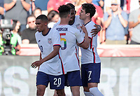 SANDY, UT - JUNE 10: Giovanni Reyna #7 of the United States scores a goal and celebrates during a game between Costa Rica and USMNT at Rio Tinto Stadium on June 10, 2021 in Sandy, Utah.
