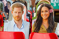 Prince Harry and Meghan Markle cut outs in the stand during the Sky Bet Championship match between Nottingham Forest and Swansea City at the City Ground Stadium in Nottingham, England, UK. Wednesday 15 July 2020