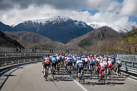 peloton heading into the (snow covered) mountains<br /> <br /> Stage 4 from Terni to Prati di Tivo (148km)<br /> <br /> 56th Tirreno-Adriatico 2021 (2.UWT) <br /> <br /> ©kramon