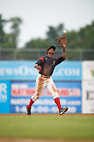 Batavia Muckdogs second baseman Samuel Castro (5) catches a popup during a game against the Williamsport Crosscutters on August 3, 2017 at Dwyer Stadium in Batavia, New York.  Williamsport defeated Batavia 2-1.  (Mike Janes/Four Seam Images)