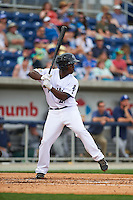 Pensacola Blue Wahoos first baseman Marquez Smith (21) at bat during the second game of a double header against the Biloxi Shuckers on April 26, 2015 at Pensacola Bayfront Stadium in Pensacola, Florida.  Pensacola defeated Biloxi 2-1.  (Mike Janes/Four Seam Images)