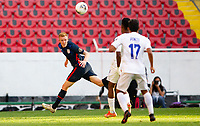 GUADALAJARA, MEXICO - MARCH 28: Justen Glad #4 of the United States heads back a ball during a game between Honduras and USMNT U-23 at Estadio Jalisco on March 28, 2021 in Guadalajara, Mexico.