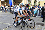 Diego Rosa (ITA) Team Sky and Fabio Aru (ITA) UAE Team Emirates before the start of the 99th edition of Milan-Turin 2018, running 200km from Magenta Milan to Superga Basilica Turin, Italy. 10th October 2018.<br /> Picture: Eoin Clarke | Cyclefile<br /> <br /> <br /> All photos usage must carry mandatory copyright credit (© Cyclefile | Eoin Clarke)