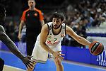 Real Madrid´s Facundo Campazzo and Zalgiris Kaunas´s Will Cherry during 2014-15 Euroleague Basketball match between Real Madrid and Zalgiris Kaunas at Palacio de los Deportes stadium in Madrid, Spain. April 10, 2015. (ALTERPHOTOS/Luis Fernandez)