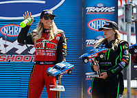 Sep 2, 2017; Clermont, IN, USA; NHRA top fuel driver Leah Pritchett (let) and Brittany Force during qualifying for the US Nationals at Lucas Oil Raceway. Mandatory Credit: Mark J. Rebilas-USA TODAY Sports