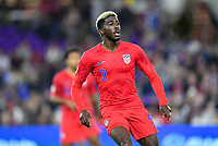 ORLANDO, FL - NOVEMBER 15: Gyasi Zardes #9 of the United States looks for a ball during a game between Canada and USMNT at Exploria Stadium on November 15, 2019 in Orlando, Florida.