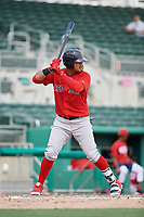 Boston Red Sox first baseman Danny Diaz (7) at bat during a Florida Instructional League game against the Baltimore Orioles on September 21, 2018 at JetBlue Park in Fort Myers, Florida.  (Mike Janes/Four Seam Images)