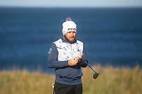 1st October 2021; Kingsbarns Golf Links, Fife, Scotland; European Tour, Alfred Dunhill Links Championship, Second round; Tyrrell Hatton of England on the green of the seventh hole at Kingsbarns Golf Links