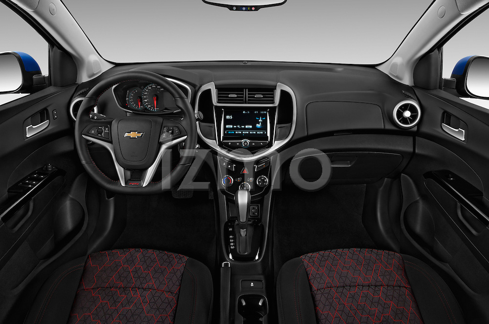 Stock photo of straight dashboard view of 2017 Chevrolet Sonic LT 5 Door Hatchback Dashboard