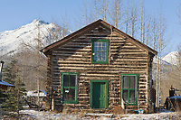Historic trading post, Wiseman, Alaska, kahlabuk mountain, Brooks Range, Alaska.