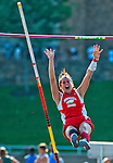 """Bohemia Manor's Brittany Wilson clears 10'3"""" to win the 1A Girls Pole Vault championship at the 1A/2A Maryland State Track and Field Championships at Morgan University in Baltimore, Maryland on May 24, 2012"""