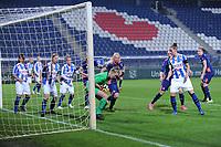 VOETBAL: HEERENVEEN: Abe Lenstra Stadion 02-10-2015, Eredivisie Vrouwen, sc Heerenveen - PSV, uitslag 1-1, keepster Lotte Wiekamp heeft de bal klemvast, ©foto Martin de Jong