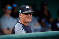 New York Yankees Jay Bell in the dugout during a Grapefruit League Spring Training game against the Detroit Tigers on February 27, 2019 at Publix Field at Joker Marchant Stadium in Lakeland, Florida.  Yankees defeated the Tigers 10-4 as the game was called after the sixth inning due to rain.  (Mike Janes/Four Seam Images)