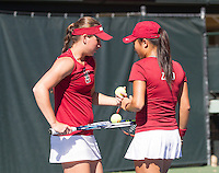 STANFORD, CA - MARCH 1, 2015--Stanford women tennis double players Taylor Davidson, and Carol Zheo, during a match against  CAL Berkley, on Sunday's  at  at the Taube Family Tennis Stadium.
