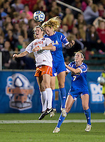 Annie Steinlage, Sam Mewis. UCLA advanced on penalty kicks after defeating Virginia, 1-1, in regulation time at the NCAA Women's College Cup semifinals at WakeMed Soccer Park in Cary, NC.