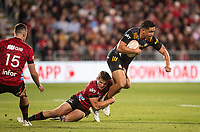 George Bridge tackles Anton Lienert-Brown during the 2021 Super Rugby Aotearoa final between the Crusaders and Chiefs at Orangetheory Stadium in Christchurch, New Zealand on Saturday, 8 May 2021. Photo: Joe Johnson / lintottphoto.co.nz