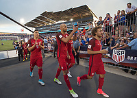 Commerce City, CO - Thursday June 08, 2017: Bobby Wood, John Brooks, Fabian Johnson during a 2018 FIFA World Cup Qualifying Final Round match between the men's national teams of the United States (USA) and Trinidad and Tobago (TRI) at Dick's Sporting Goods Park.