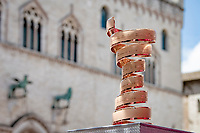 """The winner of the Giro d'italia wins the Trofeo Senza Fine. This 9.5-kilo """"Endless Trophy"""" is one of the most iconic in the world of cycling. <br /> <br /> 104th Giro d'Italia 2021 (2.UWT)<br /> Stage 11 from Perugia to Montalcino (162km)<br /> """"the Strade Bianche stage""""<br /> <br /> ©kramon"""