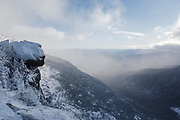 Carter Notch from along the Appalachian Trail (Carter-Moriah Trail) in Bean's Purchase of the New Hampshire White Mountains during the winter months.
