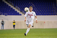 Chris Lebo (3) of the St. John's Red Storm. St. John's defeated Villanova 2-0 during the second semifinal match of the Big East Men's Soccer Championships at Red Bull Arena in Harrison, NJ, on November 11, 2011.