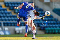 Alan McCormack of Brentford and Luke O'Nien of Wycombe Wanderers battle for the ball during the Friendly match between Wycombe Wanderers and Brentford at Adams Park, High Wycombe, England on 19 July 2016. Photo by David Horn PRiME Media Images.