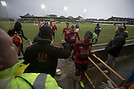 Port Talbot Town 3 Caerau Ely 0, 06/02/2016. Genquip Stadium, Welsh Cup fourth round. Visiting players leaving the pitch after Port Talbot Town (in blue) played against Caerau Ely in a Welsh Cup fourth round tie at the Genquip Stadium, formerly known as Victoria Road. Formed by exiled Scots in 1901 as Port Talbot Athletic, they competed in local and regional football before being promoted to the League of Wales  in 2000 and changing their name to the current version a year later. Town won this tie 3-0 against their opponents from the Welsh League, one level below the welsh Premier League where Port Talbot competed, watched by a crowd of 113. Photo by Colin McPherson.