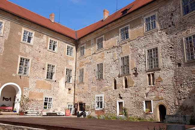Courtyard of Siklos castle ( siklosi var) near Villany, Hungary