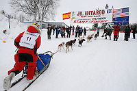 Sunday February 28, 2010  Jeremiah Klejka crosses the finish line of the 2010 Jr. Iditarod in 4t place .  Willow AK