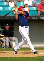 14 March 2006: Larry Broadway, first baseman for the Washington Nationals, at bat during a Spring Training game against the Florida Marlins. The Marlins defeated the Nationals 2-1 at Space Coast Stadium, in Viera, Florida...Mandatory Photo Credit: Ed Wolfstein..