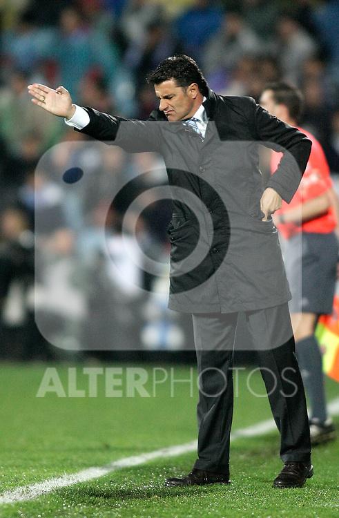 Getafe's coach Michel during La Liga match. March 25, 2010. (ALTERPHOTOS/Alvaro Hernandez)