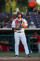 Wade Hinkle  #16 of the Inland Empire 66ers, wearing a Zombie Apocalypse Night jersey, bats against the Visalia Rawhide at San Manuel Stadium on June 12, 2014 in San Bernardino, California. Inland Empire defeated Visalia, 4-2. (Larry Goren/Four Seam Images)