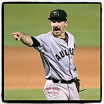 Former Clemson pitcher Spencer Strider (24) of the Augusta GreenJackets, a 2020 fourth-round pick of the Atlanta Braves, challenges a call in a game against the Columbia Fireflies on Tuesday, May 25, 2021, at Segra Park in Columbia, South Carolina. His ERA remains at 0.00 after appearing in three games. (Tom Priddy/Four Seam Images)