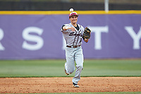 North Carolina Central Eagles shortstop Dominic Cuevas (6) makes a throw to first base against the High Point Panthers at Williard Stadium on February 28, 2017 in High Point, North Carolina. The Eagles defeated the Panthers 11-5. (Brian Westerholt/Four Seam Images)