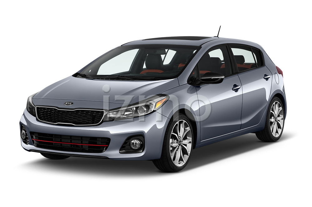 2018 KIA Forte5 SX 5 Door Hatchback Angular Front stock photos of front three quarter view