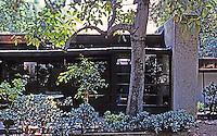 Rudolph Schindler: Schindler House--Studio from garden.