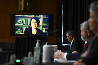 United States Senator Amy Klobuchar (Democrat of Minnesota) speaks via videolink during a United States Senate Judiciary Committee hearing examining issues facing prisons and jails during the coronavirus disease (COVID-19) pandemic on Capitol Hill in Washington, U.S., June 2, 2020. <br /> Credit: Erin Scott / Pool via CNP/AdMedia