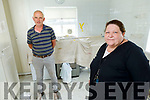 Catherine Casey with her building contractor Mike Sugrue on Tuesday as they inspect the ongoing renovations from the recent flood damage at the Adapt Centre in Tralee.