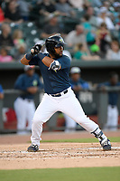 Second baseman Walter Rasquin (22) of the Columbia Fireflies bats in a game against the Lexington Legends on Friday, May 3, 2019, at Segra Park in Columbia, South Carolina. Lexington won, 5-2. (Tom Priddy/Four Seam Images)