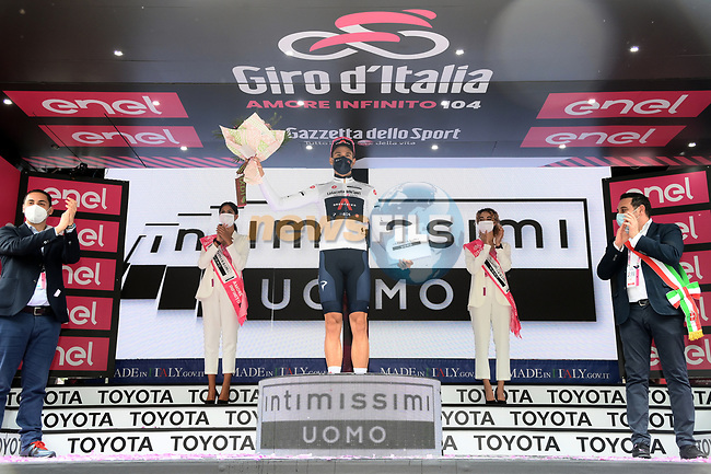 Race leader Filippo Ganna (ITA) also wears the young riders Maglia Bianca at the end of Stage 2 of the 2021 Giro d'Italia, running 179km from Stupinigi (Nichelino) to Novara, Italy. 9th May 2021.  <br /> Picture: LaPresse/Gian Mattia D'Alberto   Cyclefile<br /> <br /> All photos usage must carry mandatory copyright credit (© Cyclefile   LaPresse/Gian Mattia D'Alberto)