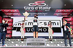 Race leader Filippo Ganna (ITA) also wears the young riders Maglia Bianca at the end of Stage 2 of the 2021 Giro d'Italia, running 179km from Stupinigi (Nichelino) to Novara, Italy. 9th May 2021.  <br /> Picture: LaPresse/Gian Mattia D'Alberto | Cyclefile<br /> <br /> All photos usage must carry mandatory copyright credit (© Cyclefile | LaPresse/Gian Mattia D'Alberto)