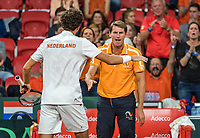 The Hague, The Netherlands, September 16, 2017,  Sportcampus , Davis Cup Netherlands - Chech Republic, Doubles : Robin Haase (NED) gets support from captain Paul Haarhuis<br /> Photo: Tennisimages/Henk Koster